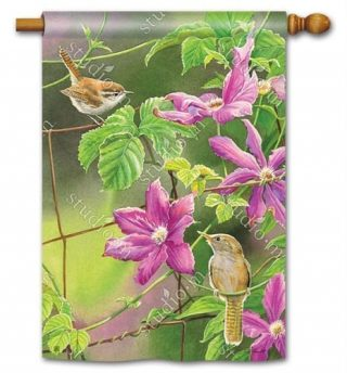 Wren with Purple Clematis House Flag | Bird Flags | Floral Flag | Yard Flag