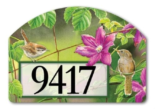 Wren with Purple Clematis Yard Sign | Yard Signs | Garden House Flags