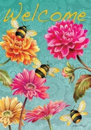 Bumblebees in the Garden Flag | Welcome Flag | Double Sided Flags