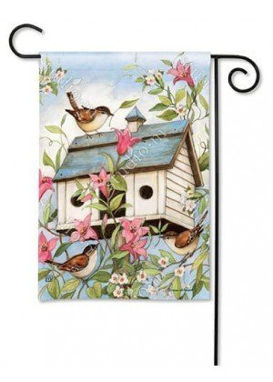 Spring Birdhouse with Clematis Garden Flag | Bird Flags | Floral Flags
