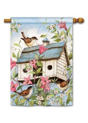 Spring Birdhouse with Clematis Flag | House Flags | Garden House Flags