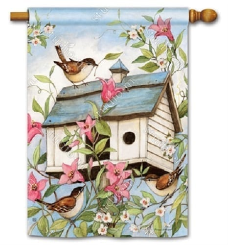 Spring Birdhouse with Clematis House Flag | Decorative Flag | Garden House Flags