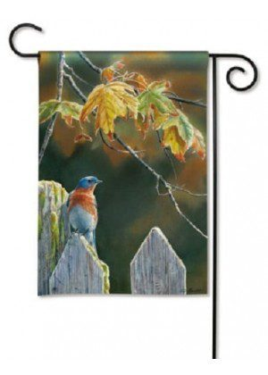 Garden Gate Bluebird Garden Flag | Fall Flags | Bird Flags | Garden Flags