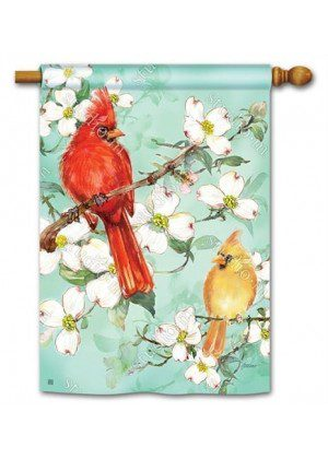 Cardinals in Spring House Flag | Floral Flags | Bird Flags | Spring Flags