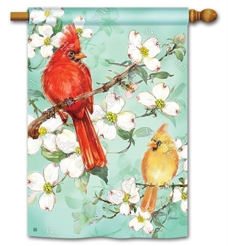Cardinals in Spring House Flag | Decorative Flag | House Flag | Garden House Flag
