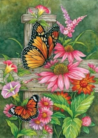 Butterfly Fence Flag | Spring Flag | Floral Flags | cool Flags | Yard Flags