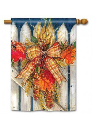 Autumn Gate House Flag | Thanksgiving Flags | Floral Flags | Fall Flags