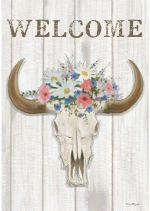 Steer Floral Flag | Decorative Flags | House Flags | Garden House Flags