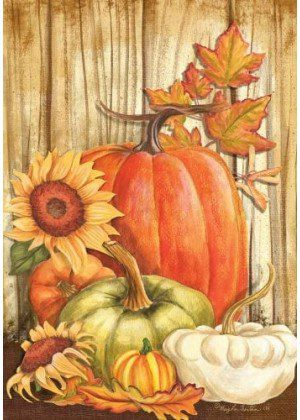 Pumpkins on Barnwood Flag | Thanksgiving Flags | Floral Flags | Fall Flag
