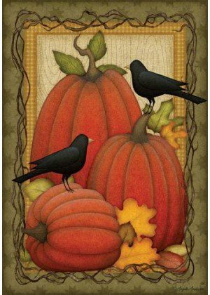 Pumpkin Patch Crows Flag | Decorative Flag | Garden House Flags | Flags