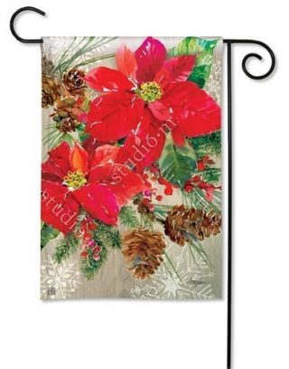 Poinsettia with Pine Cones Garden Flag | Christmas Flags | Winter Flags