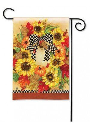 Sunflower Wreath Garden Flag | Thanksgiving Flags | Fall Flag | Yard Flag