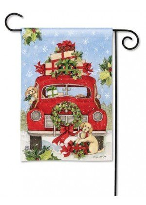 Bringing Home the Puppies Garden Flag   Chistmas Flags   Holiday Flags