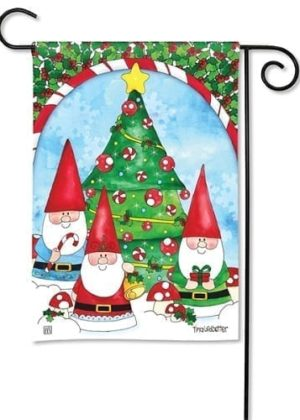 Gnomes Trim the Tree Garden Flag | Christmas Flags | Holiday Flags