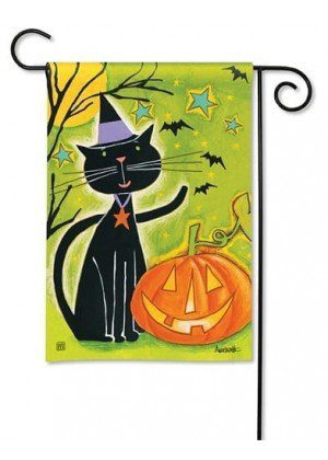 Black Cat Magic Garden Flag | Halloween Flags | Holiday Flags | Fall Flags