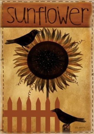 Primitive Sunflower with Crows Flag | Decorative Flag | Garden House Flag