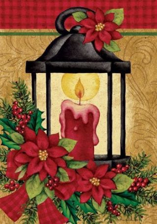 Poinsettia Lantern Flag | Christmas Flags | Two-sided Flags | Winter Flags