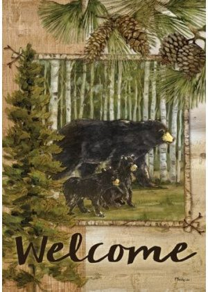 Welcome Bears in Pines Flag | Decorative Flag | Flag | Garden House Flag