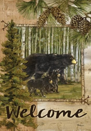 Welcome Bears in Pines Flag | Decorative Flag | House Flags | Garden House Flags
