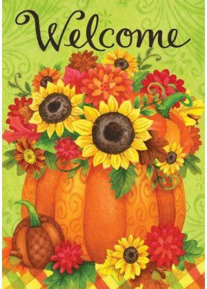 Pumpkin Floral Flag | Thanksgiving Flags | Two-sided Flags | Fall Flags