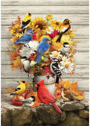 Fall Flowers and Birds Flag | Decorative House Flag | Garden House Flags