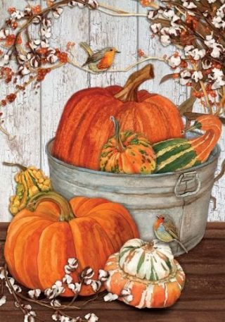 Pumpkins and Cotton Flag | Thanksgiving Flags | Floral Flags | Fall Flags