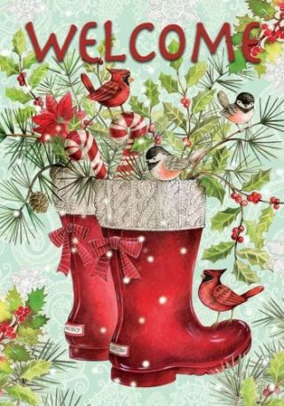 Red Santa Boots Flag | Christmas Flags | Two-sided Flags | Holiday Flags