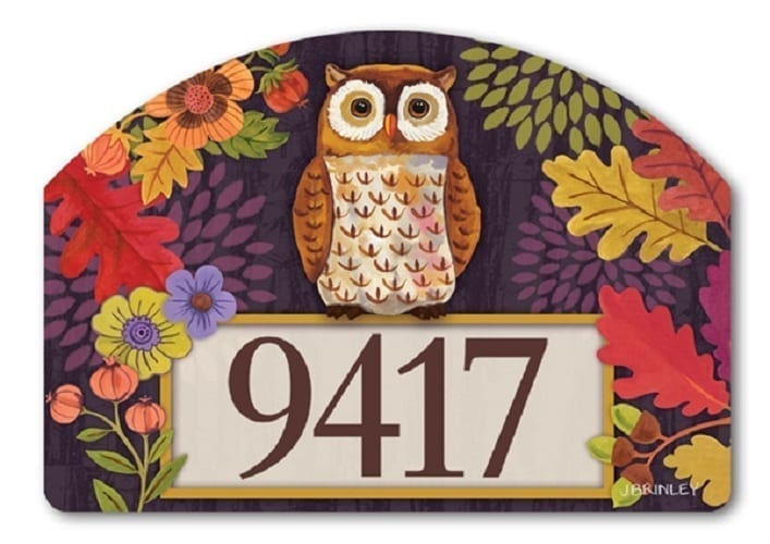 Floral Owl Yard Sign Magnetic Address Plaques Yard Signs
