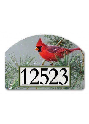 Winter Red Bird Yard Sign | Address Plaques | Garden Decor | Yard Signs
