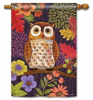 Floral Owl House Flag | Fall Flags | Floral Flags | Bird Flags | Yard Flags