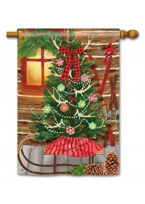 Christmas at the Cabin House Flag | Christmas Flags | Yard Flags | Flags