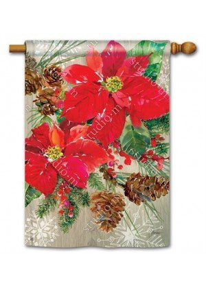 Poinsettia with Pine Cones House Flag | Christmas Flags | Holiday Flags