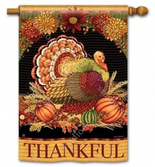 Thankful Turkey House Flag | Thanksgiving Flags | Yard Flags | Cool Flags