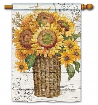 Farmhouse Sunflower House Flag | Fall Flags | Floral Flags | Yard Flags