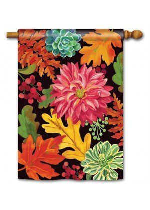 Vibrant Autumn Mix House Flag | Fall Flags | Floral Flags | Yard Flags
