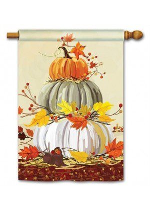 Neutral Pumpkins House Flag | Thanksgiving Flags | Fall Flags | Yard Flag