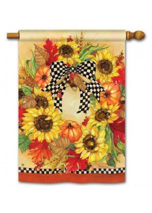 Sunflower Wreath House Flag | Thanksgiving Flags | Fall Flags | Yard Flag
