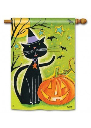 Black Cat Magic House Flag | Halloween Flags | Holiday Flags | Fall Flags