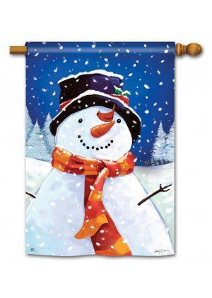 I Love Winter House Flag | Winter Flags | Yard Flags | Snowman Flags
