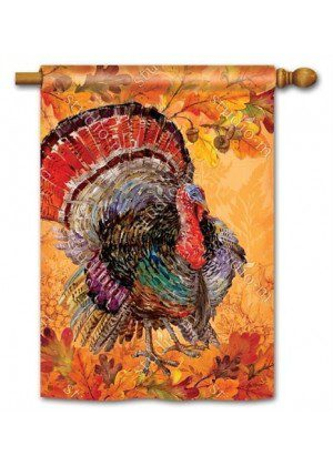 Proud Turkey House Flag | Thanksgiving Flags | Holiday Flags | Fall Flags