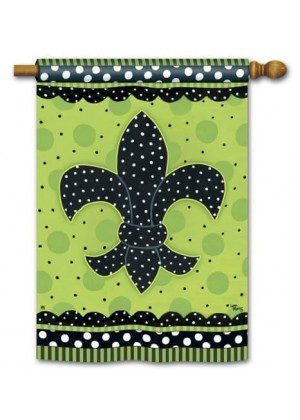 Polka Dot Fleur de Lis House Flag | Celebration Flags| Yard Flags | Flags