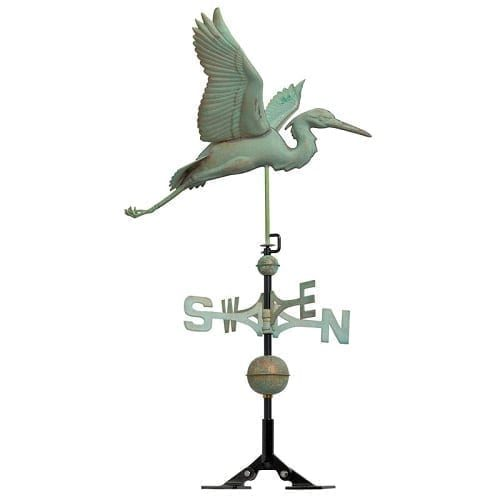 Copper Heron Rooftop Weathervane