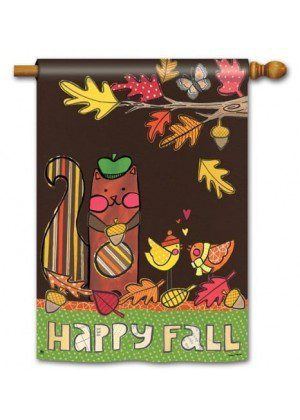 Squirrelly Friends House Flag | Fall Flags | Double Sided Flags | Yard Flag