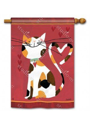 Sweet Kitty House Flag | Valentine's Day Flags | Holiday Flag | Animal Flag