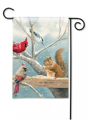 Winter Snack Time Garden Flag | Winter Flags | Bird Flags | Yard Flags