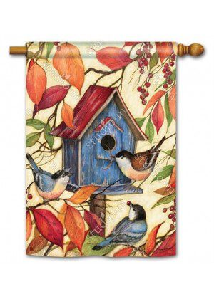 Welcome Neighbors House Flag | Fall Flags | Floral Flags | Bird Flags