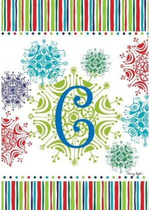 Snowflake Monogram-C Flag | Monogram Flags | Winter Flags | Yard Flags