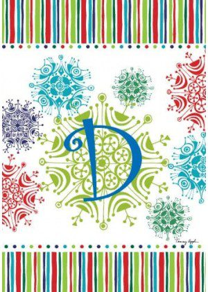 Snowflake Monogram-D Flag | Monogram Flags | Winter Flags | Yard Flags