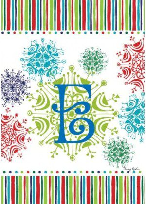 Snowflake Monogram-E Flag | Monogram Flags | Winter Flags | Yard Flags