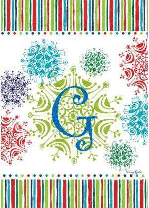 Snowflake Monogram-G Flag | Monogram Flags | Winter Flags | Yard Flags